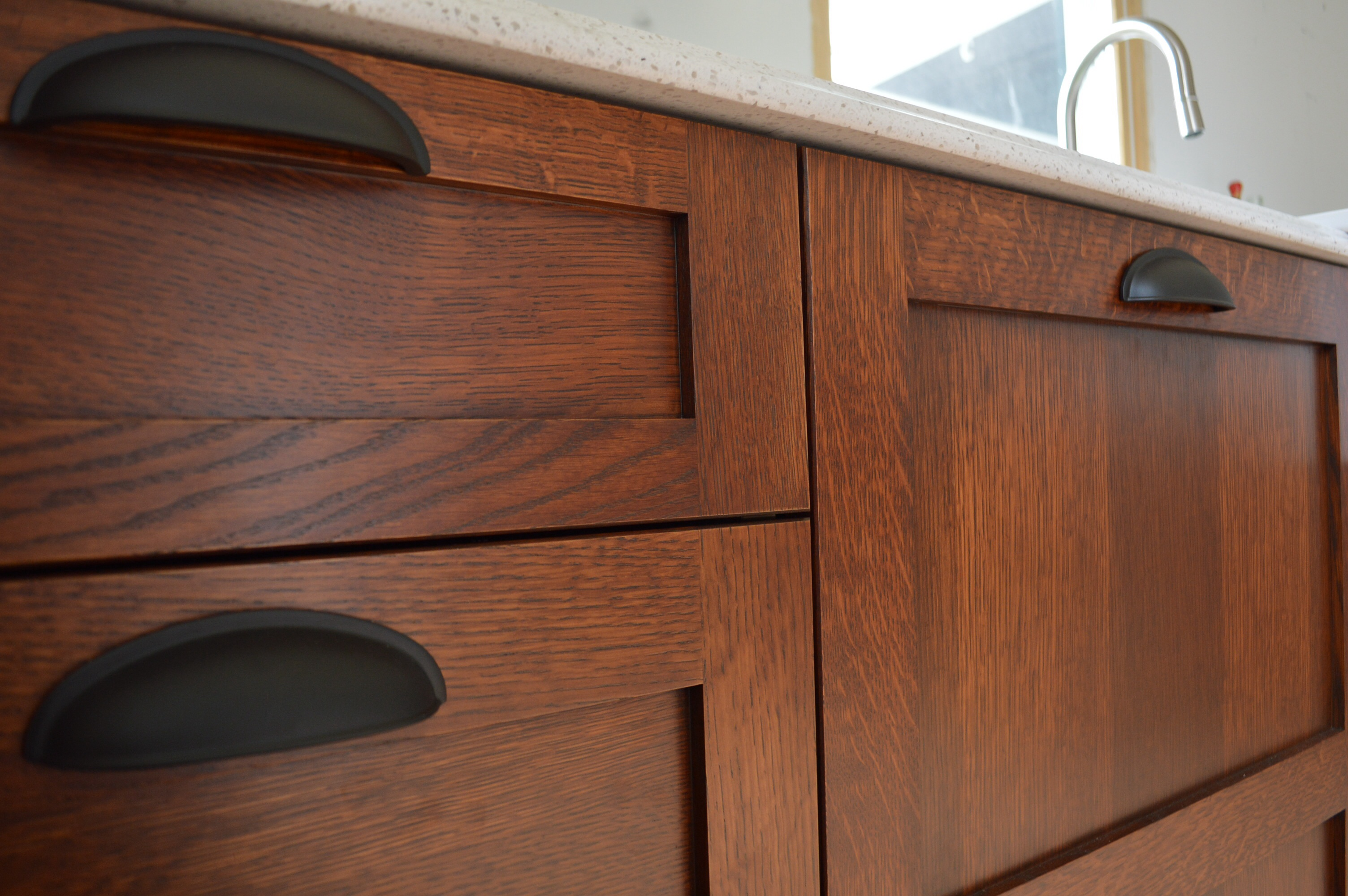 diy stickley finish walnut kitchen cabinets