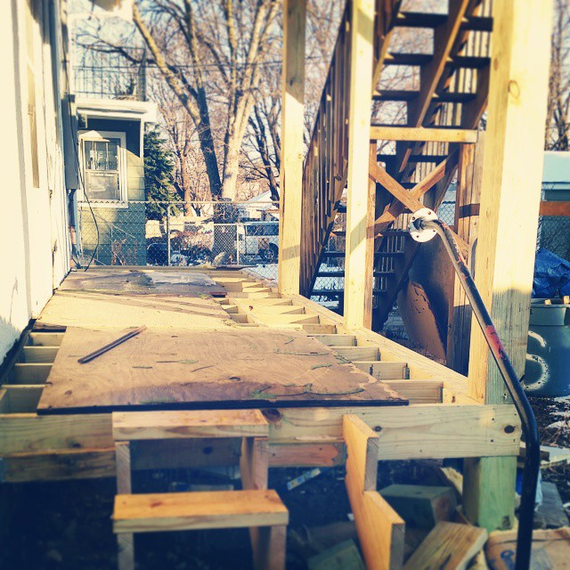 Surprise. New back porch is taking shape.  #stpaulhaus #reno